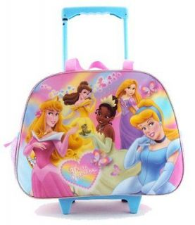 Disney Princess Girls Large Pink Duffle Rolling Wheeled Backpack