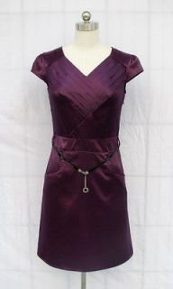 BL323UP EGGPLANT PURPLE SATIN w/belt POCKET COCKTAIL DRESS SIZE L