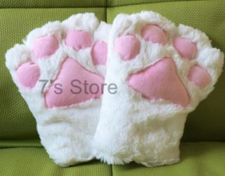 Anime Cosplay Party Costume Cat Plush Paw Claw Gloves Pair WHITE