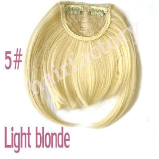 New Fashion Lady Clip on Front Neat Bang Fringe Hair Extensions LIGHT