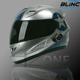 Torc Bluetooth Helmet Full Face Motorcycle helmet Silver Blue Star ~ S