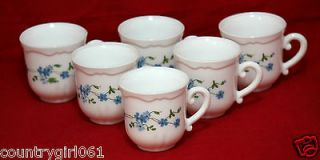 Set 6 Demitasse 2 1/2 Arcopal France Cups White Blue Floral Veronica