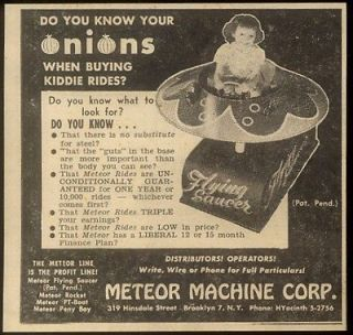 Machine Corp Flying Saucer coin op kids arcade ride photo print ad
