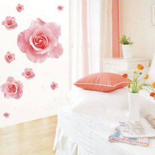 Wall Sticker 3D Pink Rose Flower Removable Home Decor Decal Art Vinyl