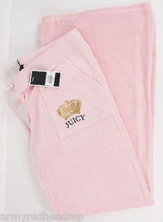 NEW JUICY COUTURE APPLE BLOSSOM PINK CROWN LOGO VELOUR TRACK PANTS XL