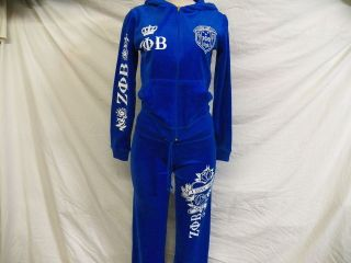 NEW Blue Zeta Phi Beta Hooded Warm Up / Track Suit ZOB