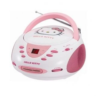 HELLO KITTY STEREO CD PLAYER AM/FM RADIO BOOMBOX PINK / WHITE KT2024A