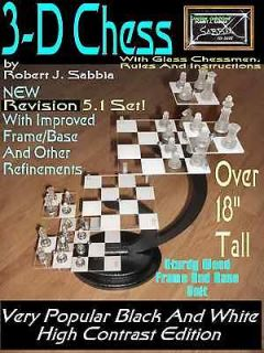 Star Trek Type 3 D Chess Set With GLASS Chessmen, Instructions and
