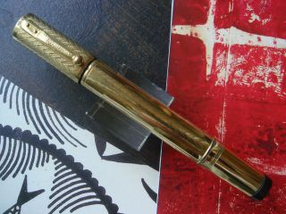 RARE FANTASTIC 18KR CONTINENTAL SAFETY WATERMAN 42 HED WAVES PATTERN