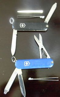 LOT 2 black & blue VICTORINOX SWITZERLAND STAINLESS ROSTFREI KNIVES