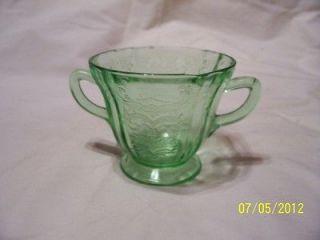 Vintage Vaseline Uranium Glass Etched Sugar Bowl