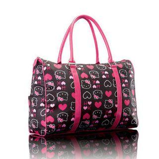 LADIES HELLO KITTY PINK HEARTS PRINT WEEKEND OVERNIGHT HANDAG BAG