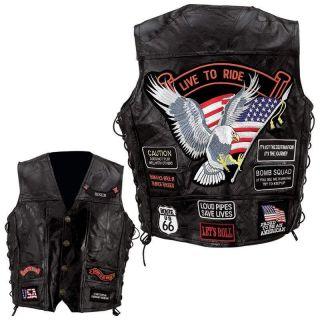 Black Leather Motorcycle Biker Vest Waist Coat w/14 Patches~S M L XL