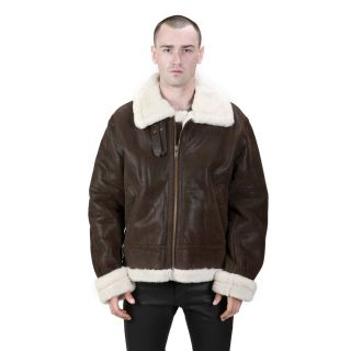 Mens Brown B 3 Leather Fur Bomber Jacket   S M L XL 2XL 3XL