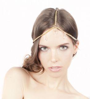 Grecian Style Swarovski multi pendant charm Chain Headpiece Headband