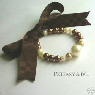 Brown Pearl Ribbon Dog Cat Collar Pet Necklace Teacup poodle chihuahua