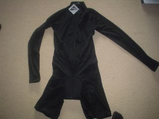 Black Cycling Skinsuit / Skin Suit   Extra Large   Long Sleeved