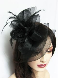 Hair Accessories Black Fascinator Hat Bow Shape Party Hair Clip