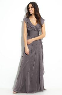 adrianna papell tiered chiffon gown in Dresses