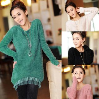 Wool Mohair Fluffy Pullover Knit Sweater Stretchable Knitwear Coat