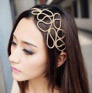 Gold Metal Snake Chain Hollow Out Flower Hair Accessories Hair Band