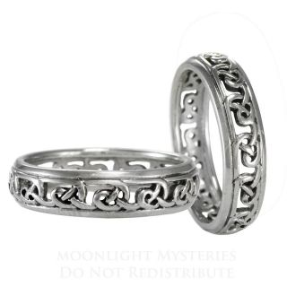 Celtic Infinity Knot Band Ring sz 4 15 SS Serling Silver knotwork
