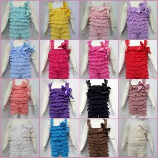 Infant Baby Girl Lace Posh Petti Ruffle Rompers Romper 0 3Y with strap