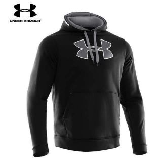 Mens Under Armour Big Logo fleece Hoodie Sweatshirt Blk/Gray MED, LRG