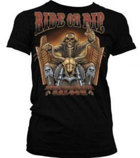 Die, Hellraiser Saloon Junior Girls T shirt Skeleton Riding Bike Tees