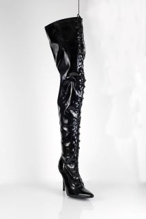 Women Thigh High Men Size Black Lace Up Boots Full Zip AB11720