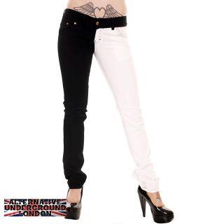 SKINNY STRETCH JEANS BLACK & WHITE SPLIT LEG PANTS PUNK GLAM DISCO