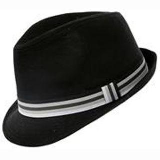 TRILBY FEDORA GANGSTER MENS LADIES BOYS GIRLS STRIPED MOD PORK PIE HAT