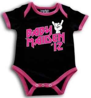 iron MAIDEN 12 BLACK & PINK ROMPER SUIT SHIRT METAL GIRL 0 6 MONTHS