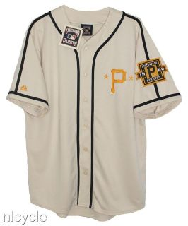 Pittsburgh PIRATES MLB MAJESTIC COOPERSTOWN CREAM JERSEY L XL NWT