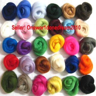 Lot of 30 colors Merino Wool Fibre Roving For Needle Felting Hand