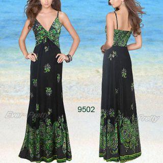 Sexy V neck Floral Printed Greens Spaghetti Straps Beach Dress 09502