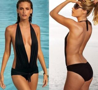 Womans Sexy Swimwear Monokini Bikini One Piece Black Halter Size S M