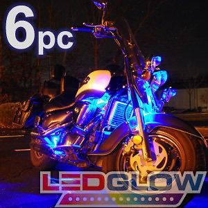 NEW 6pc BLUE LED NEON FLEXIBLE MOTORCYCLE LIGHTING KIT