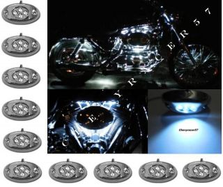 LED CHROME MODULES MOTORCYCLE CHOPPER FRAME NEON GLOW LIGHTS PODS KIT
