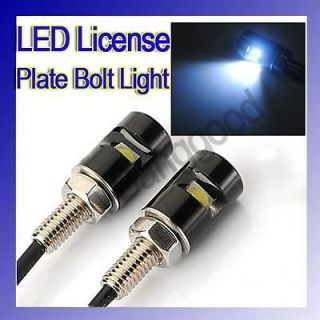 White LED Motorcycle & Car License Plate Bolt Light