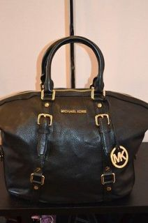 Michael kors bedford black leather satchel