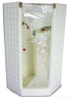 dollhouse MINI BATH TOILET SHOWER STALL TILED CORNER