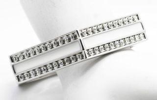 Paula Abdul Crystal & White Enamel Silvertone Hexagon Bangle Bracelet
