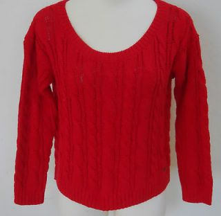 ABERCROMBIE & FITCH Womens Red Cable Knit Cropped Shea Sweater S M L