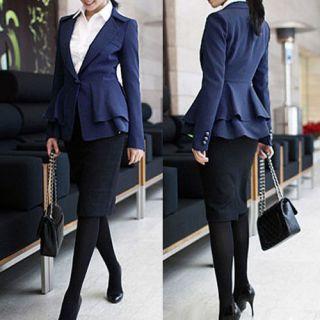Korean Women One Button Suit Blazer Swallow Tailed Power Shoulder Coat