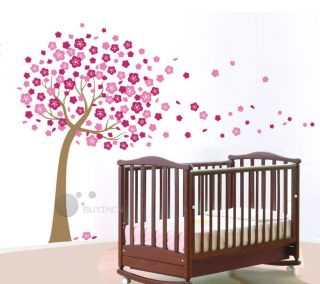 Giant Cherry Blossom Flowers Tree Wall Stickers baby kidsl Nursery