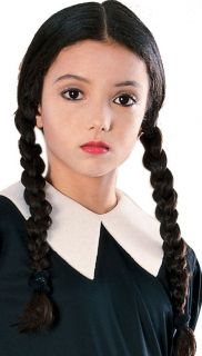 Wednesday Addams Wig Black Pigtails Dress Up Halloween Child Costume