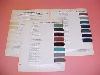 1938 CHEVROLET CHEVY CAR PAINT CHIPS COLOR CHART 38