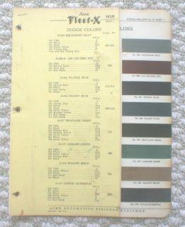 1939 DODGE Color Chip Paint Sample Chart BrochureACME