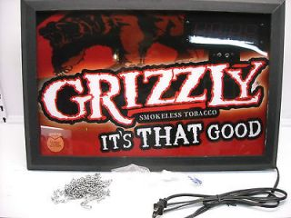 Grizzly Smokeless Tabacco Light Up Clock / Sign 24 x 16 Snuff Chew